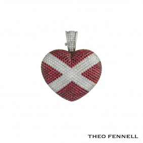 Theo Fennell White Gold Diamond & Ruby Heart Pendant